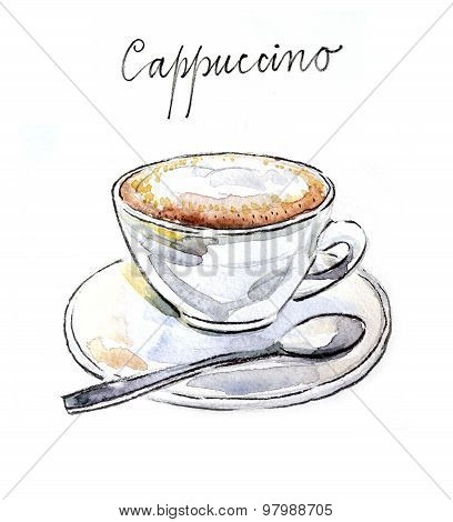 Watercolor Coffee Cappuccino