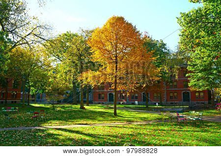 CAMBRIDGE, USA - OCTOBER 25: Harvard yard at autumn,  October 25 2014 in Cambridge, USA