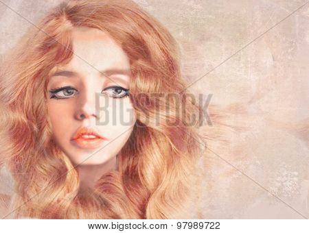 Beautiful Girl With Long Wavy Red Hair. Hand Drawn  Illustration