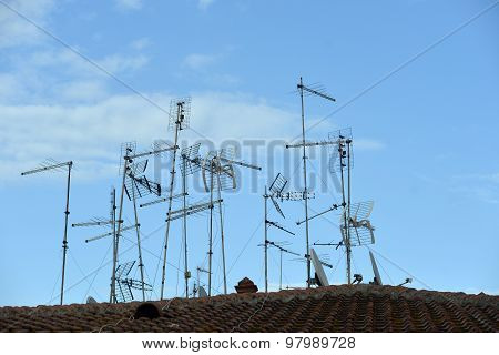 Many Antennas On Roof