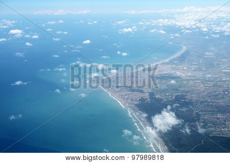 High View On Ocean Coast And Sky