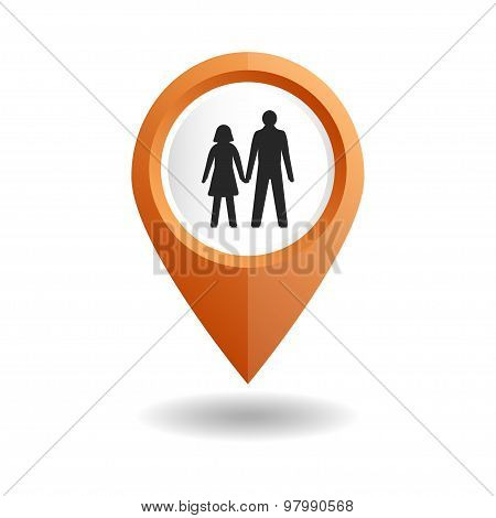 Orange map pointer with a people icon. GPS location symbol.