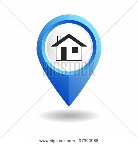 Blue map pointer with a home icon. GPS location symbol.