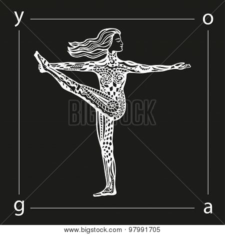 Vector yoga illustration in zentangle style.
