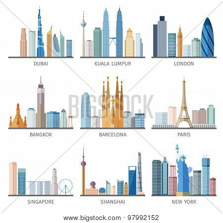 City skyline flat icons set