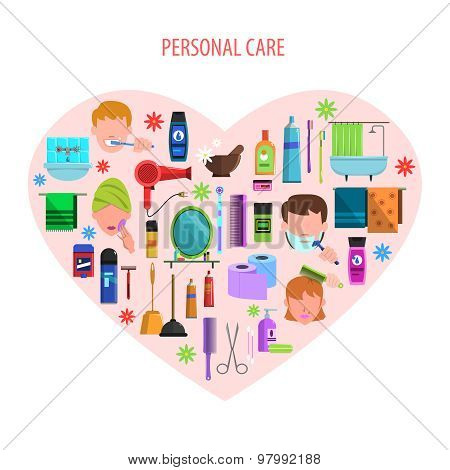 Personal care heart emblem poster