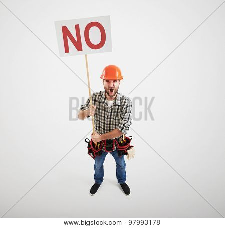 displeased screaming handyman holding no sign isolated on light grey background