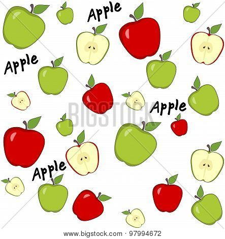 Abstract Background With Red And Green Apples. Seamless Pattern