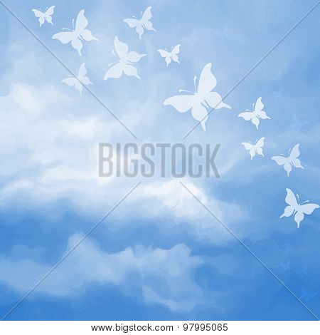 Beautiful Sky Drawing With Butterflies