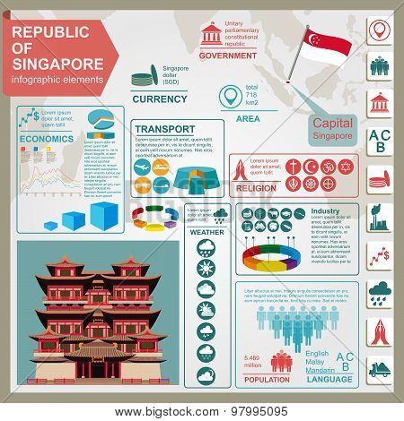 Singapore  infographics, statistical data, sights. Vector