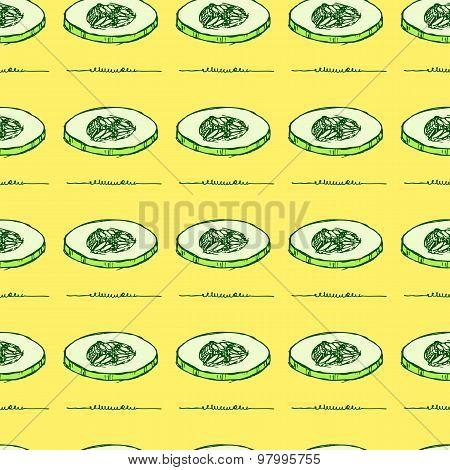 Sketch Sliced Cucumber In Vintage Style