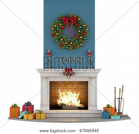 Traditional Fireplace With Christmas Decorations