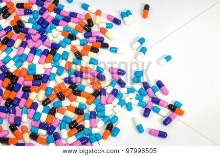 Pills Of Capsule On White Background