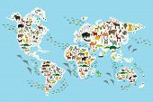 Постер, плакат: Cartoon animal world map for children and kids Animals from all over the world white continents an
