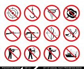 Постер, плакат: Set of animal hunt prohibition signs Collection of signs that ban usage of animal hunt weapon Proh