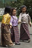 Three Little Bhutanese Girls