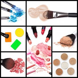 stock photo of face-powder  - Collection of makeup cosmetics - JPG
