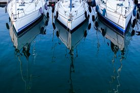 pic of yacht  - 3 yachts parked in an Italian yacht club - JPG