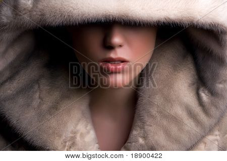 glamorous young woman covered face with fur