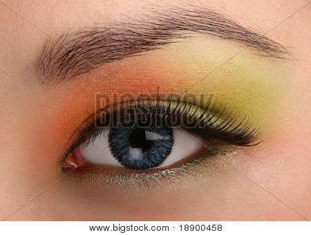 closeup of female eye with makeup