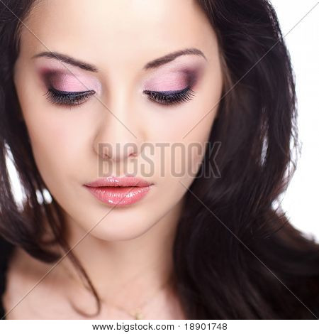 closeup portrait of female with beautiful makeup