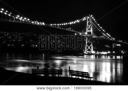 Night scene of Lions Gate Suspension Bridge Gateway, Vancouver Canada