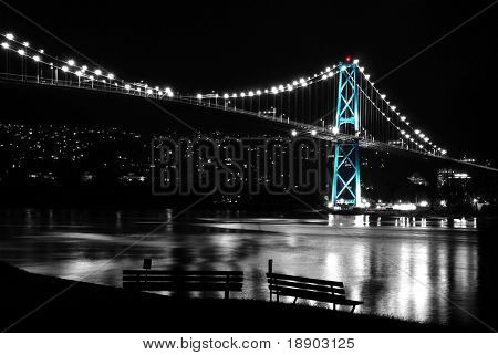Night scene of Lions Gate, BC Canada
