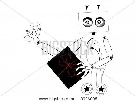 Roboter senden ein Geschenk