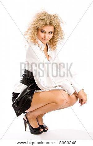 Fashion model isolated on white background