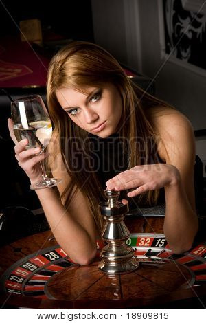 Beautiful woman in casino