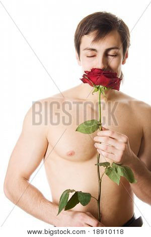 Young man with a rose