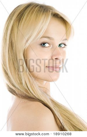 Beautiful fresh blond girl with perfect skin and hair