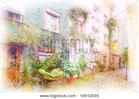 street in an old town in southern germany Lindau made in artistic watercolor style