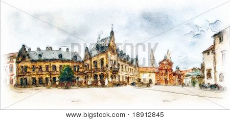 panoramic view behind the st Vitus cathedral in Prague made in artistic watercolor style