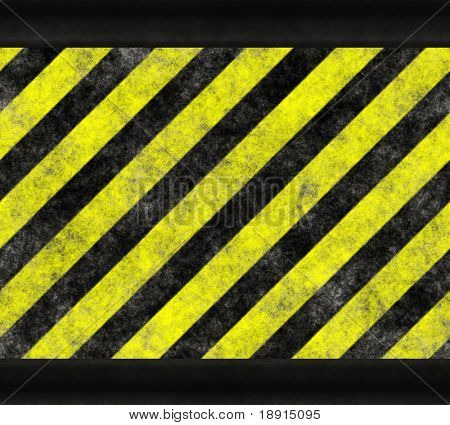 Black and yellow warning / hazard background with black frame