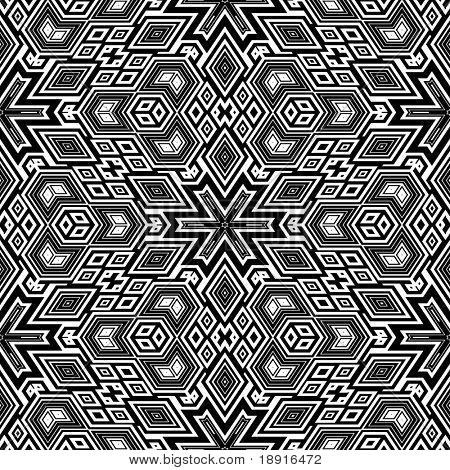 black and white retro floral pattern, tiles seamlessly, escher typical optical illusion
