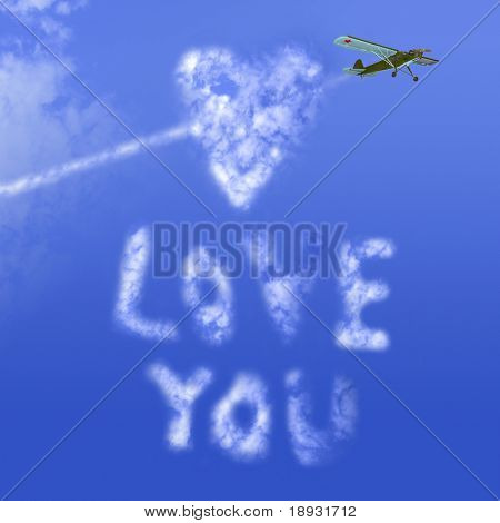 """Love you"" message in the sky"
