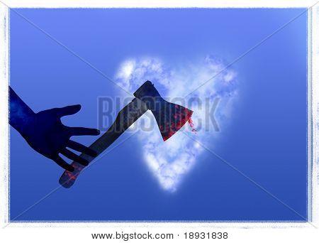 Love murder: Axe & heart