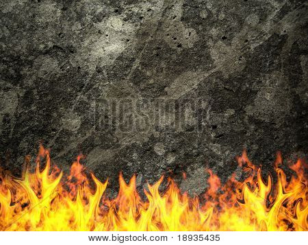Dark concrete wall on fire