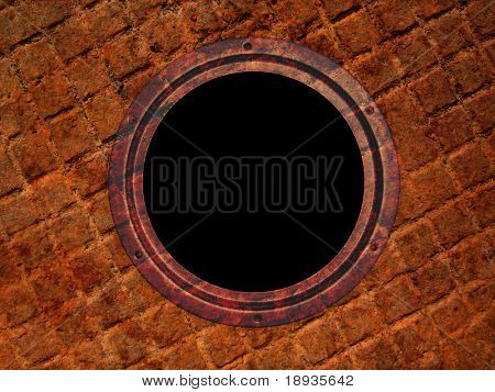 Round window on grunge wall, illuminator
