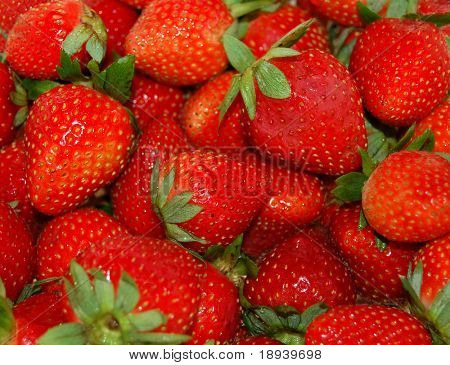 strawberries that have just been washed
