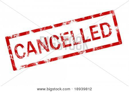 Grunge stamp of the word cancelled