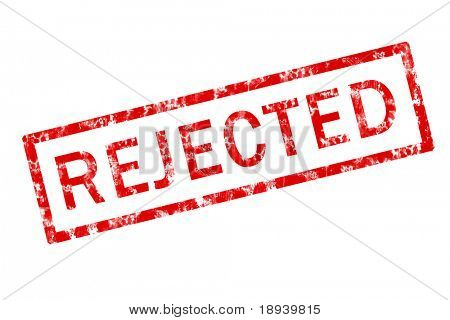 Grunge stamp of the word rejected