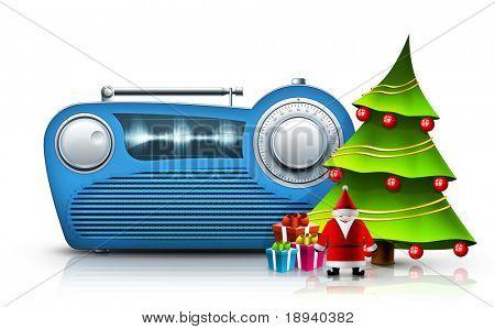 Viejo estilo de Radio sobre el fondo blanco. EQUIPO Designe, gráficos 2D