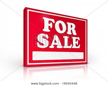 Real Estate Sign ? For sale on white background. 2D artwork. Computer Design.