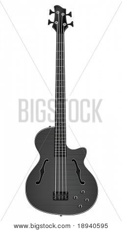 Electric Bass Guitar Isolated on White Background. Vector.