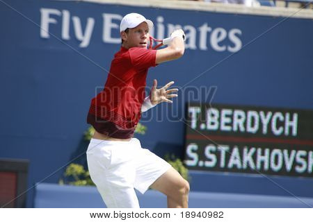 TORONTO: AUGUST 10. Tomas Berdych plays against Sergiy Stakhovskyin the Rogers Cup 2010 on August 10, 2010 in Toronto, Canada.