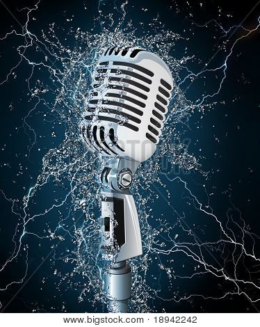 Old Microphone in Water. Computer Design. 2D Graphics.