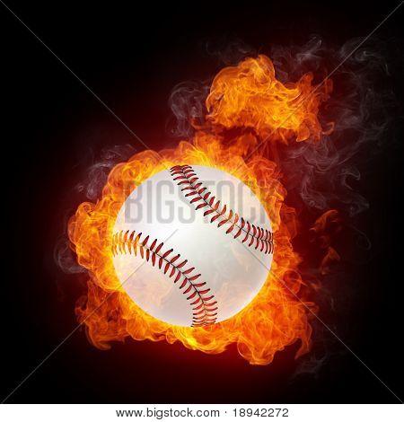 Baseball Ball on Fire. 2D Graphics. Computer Design.