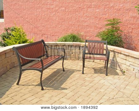 Bench And Chair On Patio